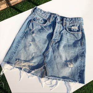 H&M ripped denim skirt. Raw hem.
